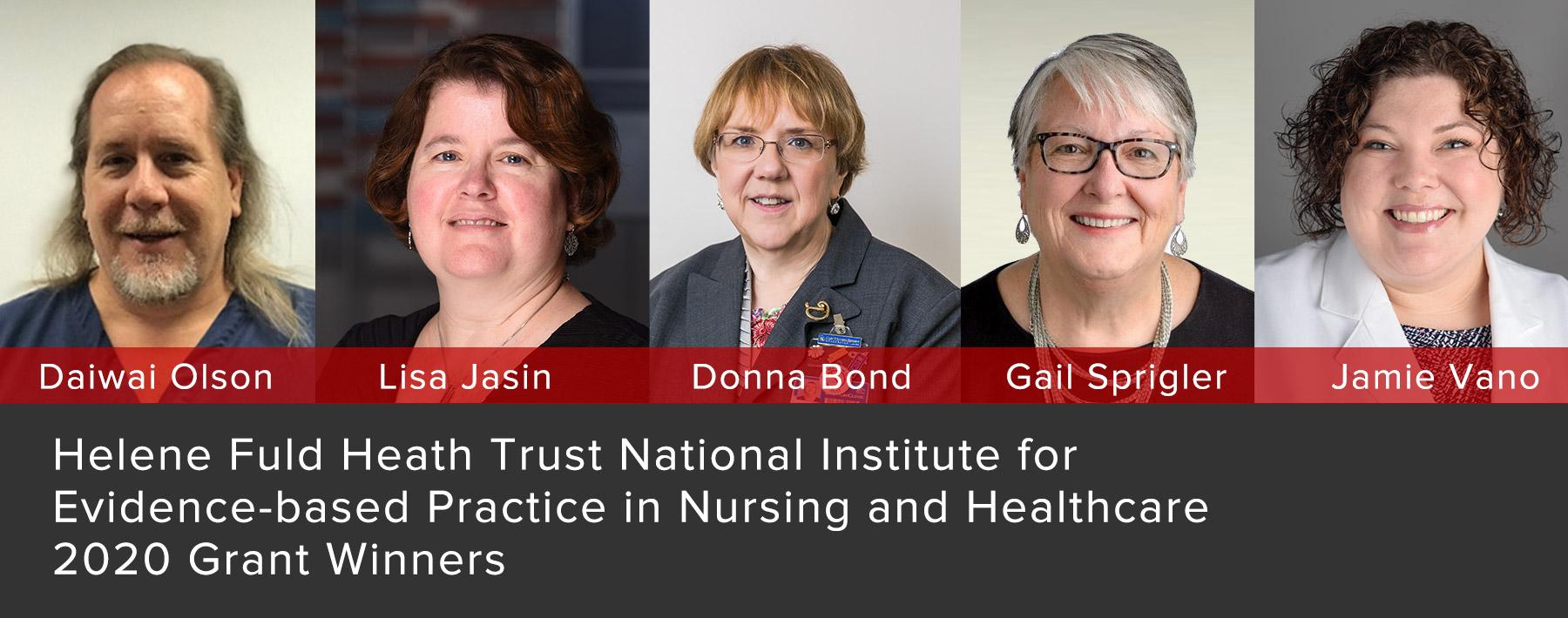 Headshots of the five grant winners