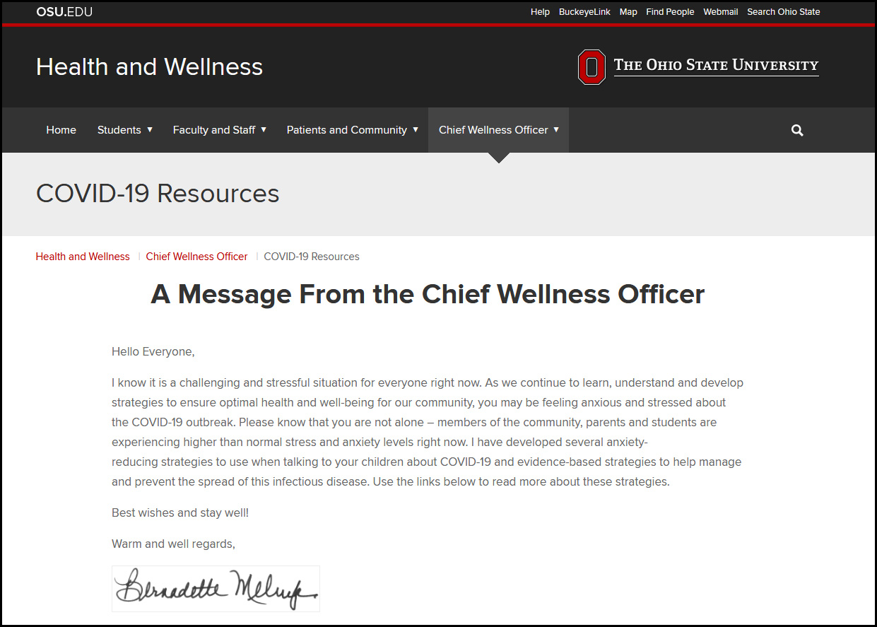 Screenshot of the chief wellness officer message.