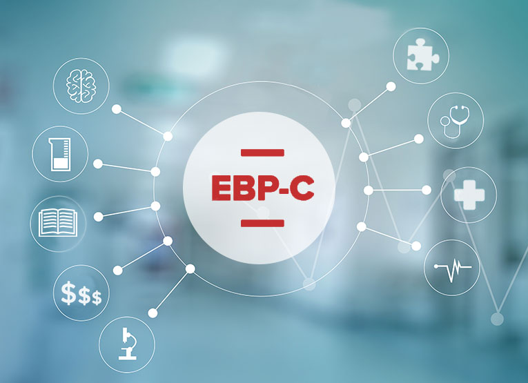 A blue background with medical symbols and EBP-C in the middle.