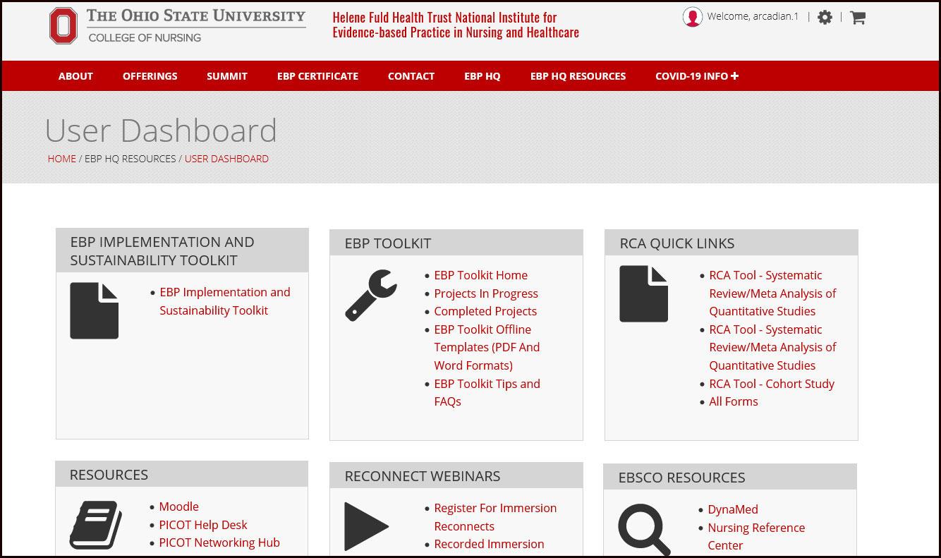 A screenshot of the EBP hq homepage.