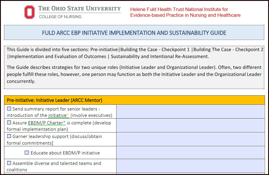 A screenshot showing a half of a page from the EBP Implementation and Sustainability Toolkit