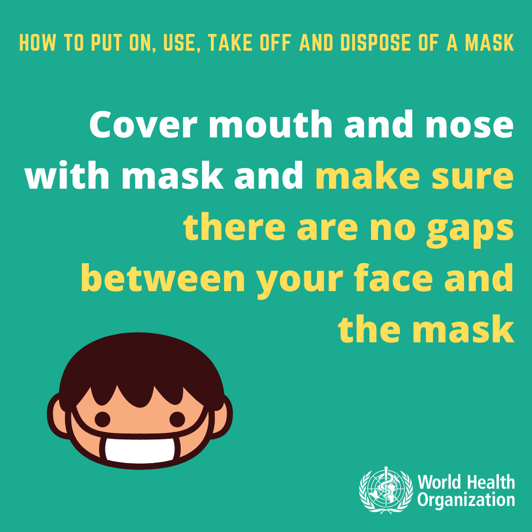 An infographic on mask usage from the World Health Organization.
